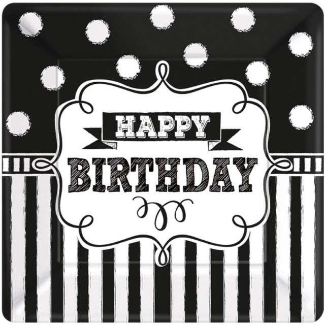 """Talerzyki papierowe """"Happy Birthday Chalkboard"""", 18 cm, 8 szt"""