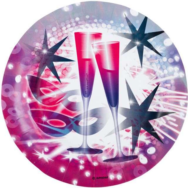 """Talerzyki papierowe """"Happy New Year"""", AMSCAN, 23 cm, 8 szt"""