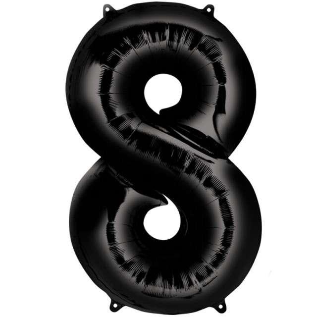 """Balon foliowy cyfra 8, 34"""", AMSCAN, czarna"""