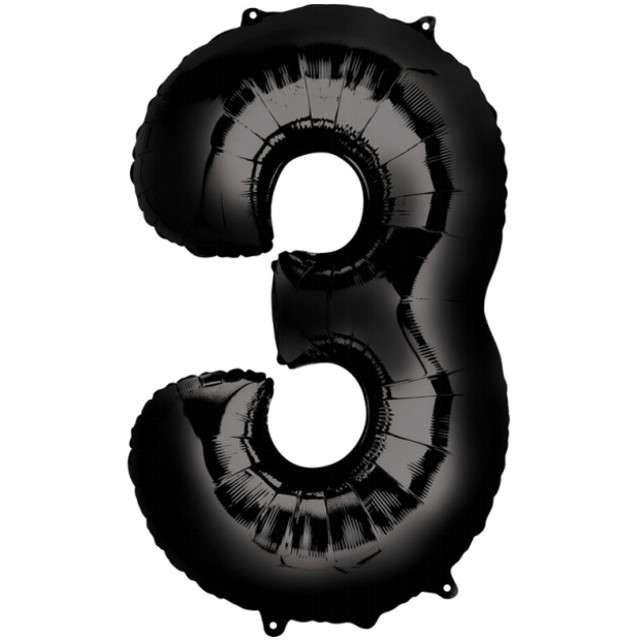 """Balon foliowy cyfra 3, 34"""", AMSCAN, czarna"""