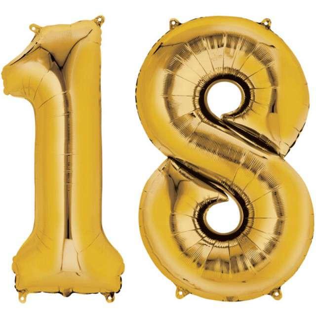 """Balon foliowy cyfra 1+8, """"18 Urodziny"""", 34"""", AMSCAN, złota"""