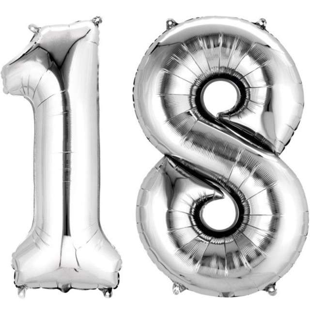 """Balon foliowy cyfra 1+8, """"18 Urodziny"""", 34"""", AMSCAN, srebrna"""