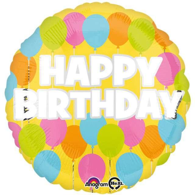 """Balon foliowy """"Happy Birthday"""", AMSCAN, 17"""" RND"""