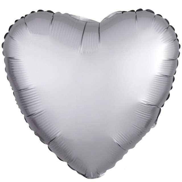 "Balon foliowy ""Serce"", srebrny mat, AMSCAN, 17"" HRT"