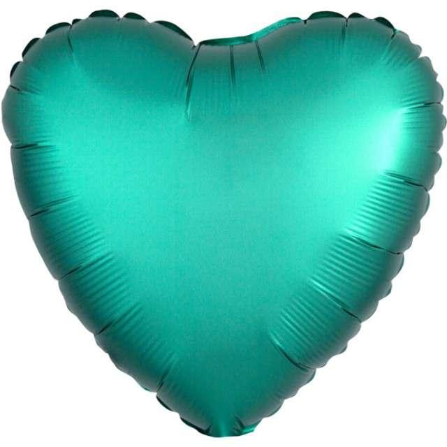 "Balon foliowy ""Serce"", zielony mat, AMSCAN, 17"" HRT"