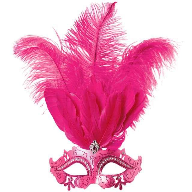 """Maska karnawałowa """"Rosalinda"""", różowa, KRASZEK"""