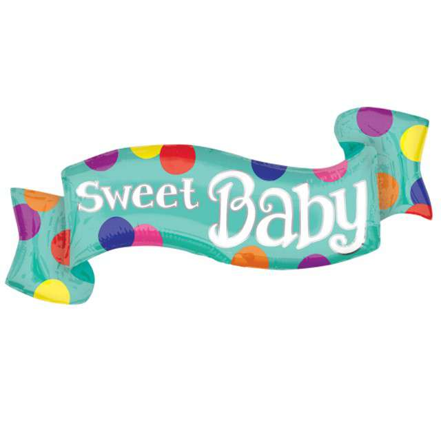 "Balon foliowy ""Wstążka - Sweet Baby"", AMSCAN, 15"" SHP"