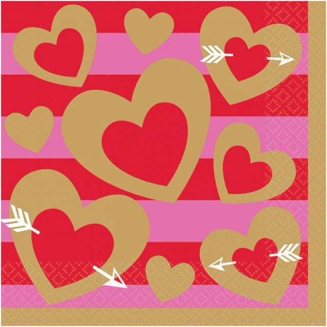 "Serwetki ""Heart of Gold"", AMSCAN, 33 cm, 16 szt"