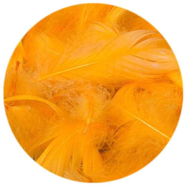 Piórka dekoracyjne, żółte ciemne, woreczek