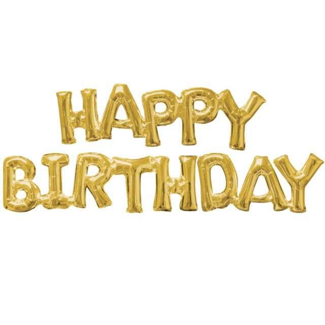 """Balon foliowy """"Happy Birthday"""", AMSCAN, złoty, OEM, 43"""" SHP"""