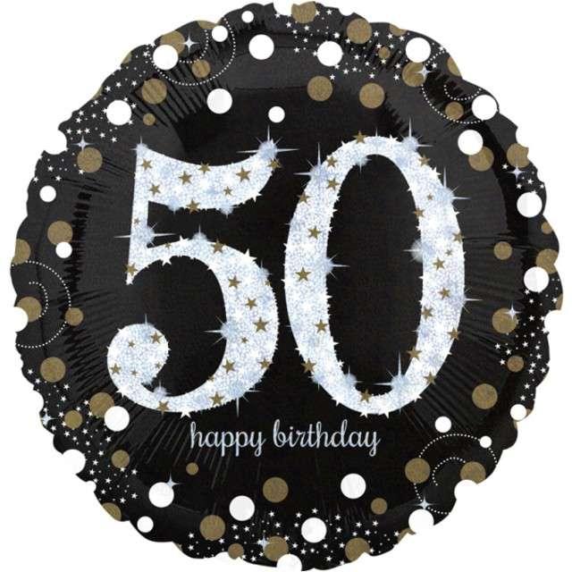 "Balon foliowy ""Urodziny 50"", Jumbo Sparkling Celebrations Gold, AMSCAN, 28"" CIR"