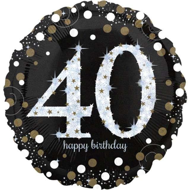 "Balon foliowy ""Urodziny 40"", Jumbo Sparkling Celebrations Gold, AMSCAN, 28"" CIR"