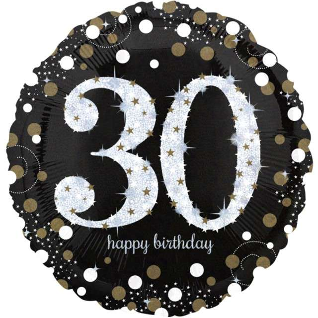 "Balon foliowy ""Urodziny 30"", Jumbo Sparkling Celebrations Gold, AMSCAN, 28"" CIR"