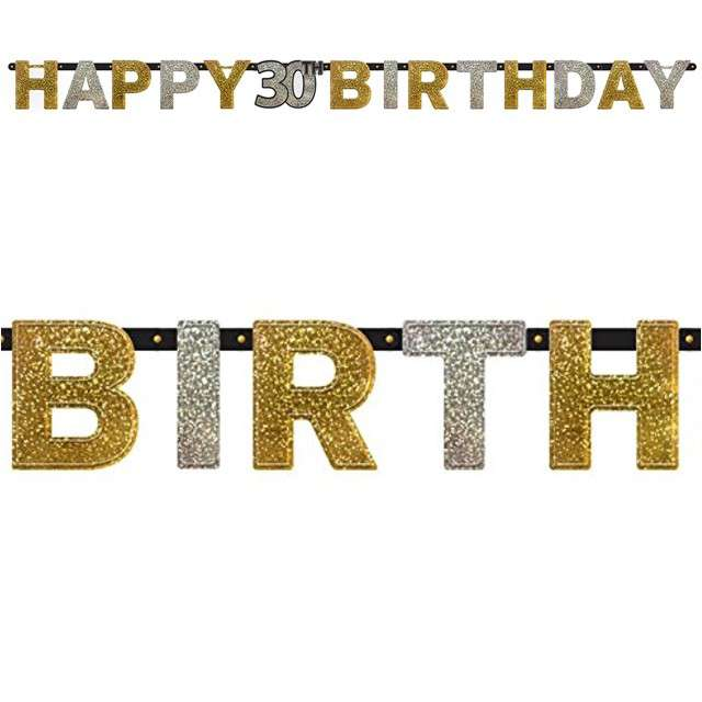 "Baner ""Happy 30th Birthday"", Sparkling Celebration Silver & Gold, AMSCAN, 240 cm"