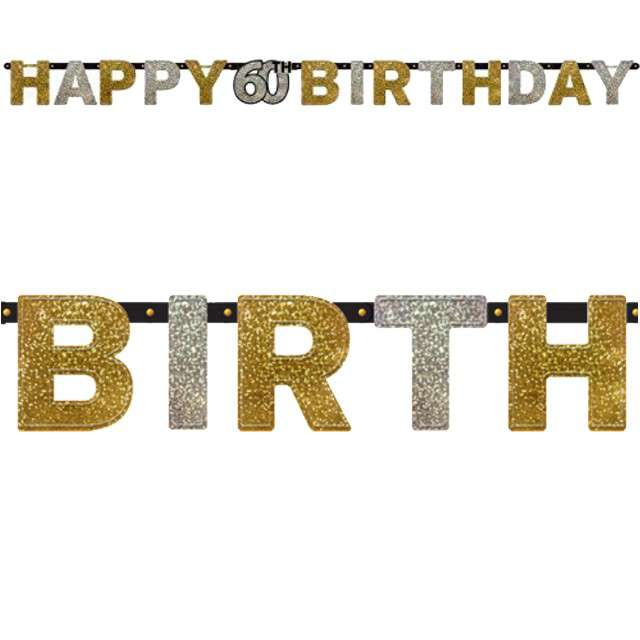 "Baner ""Happy 60th Birthday"", Sparkling Celebration Silver & Gold, AMSCAN, 240 cm"