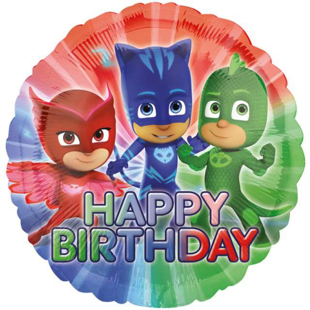 "Balon foliowy ""PJ Masks Happy Birthday"", AMSCAN, 17"" RND"