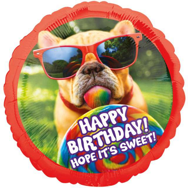 "Balon foliowy ""Happy Birthday Piesek"", Jumbo, AMSCAN, 28"" RND"