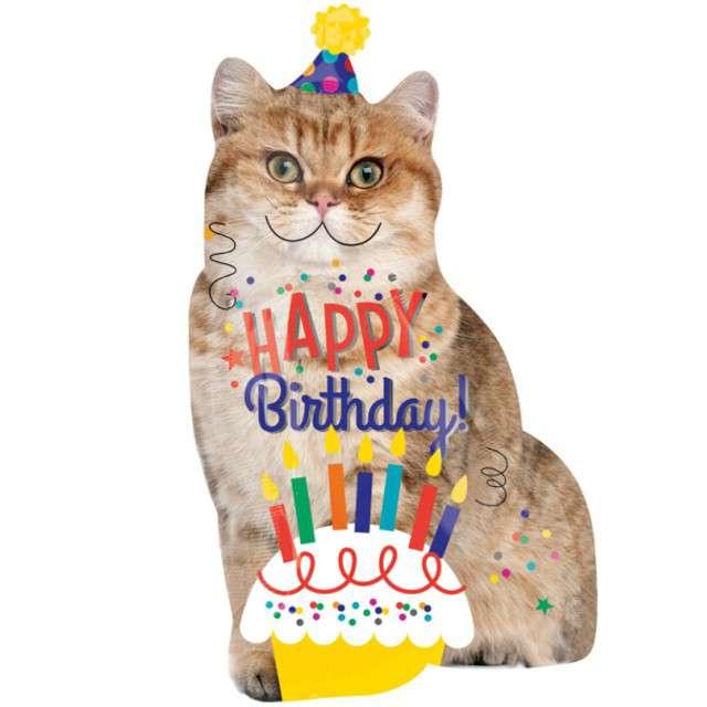 "Balon foliowy ""Kot Happy Birthday"", AMSCAN, 33"" SHP"