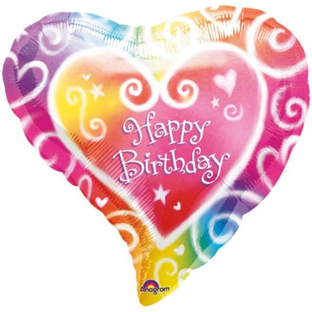 "Balon foliowy ""Serce Tęczowe - Happy Birthday"", AMSCAN, 18"" HRT"