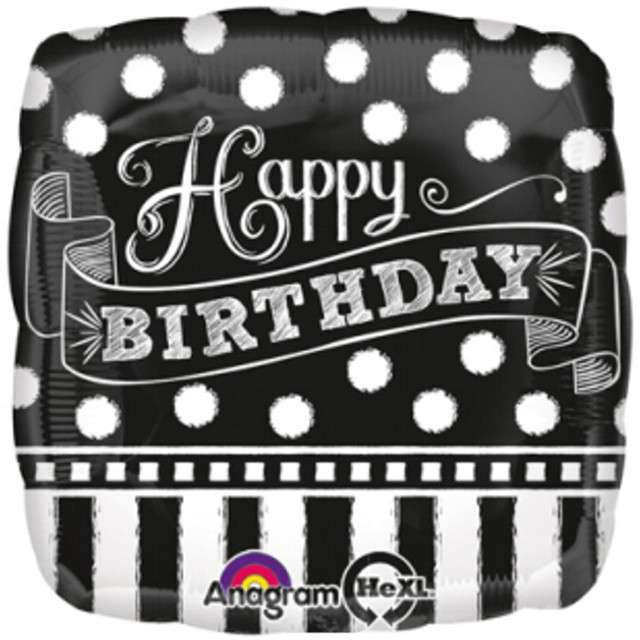 """Balon foliowy """"Chalkboard Birthday"""", AMSCAN, 17"""" SQR"""
