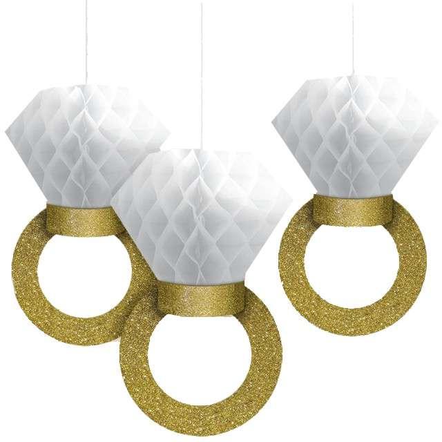 "Dekoracja ""Honeycomb Pierścionek"", złota, AMSCAN, 30 cm, 3 szt."