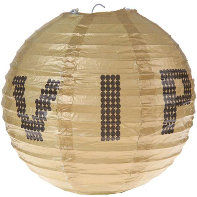 "Lampion papierowy ""VIP BLACK"", złoty, SANTEX, 20 cm, 2 szt."