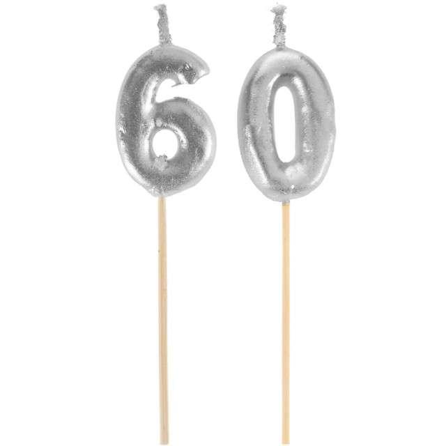 "Świeczka na tort ""60 Silver Piker"", SANTEX, 8 cm"