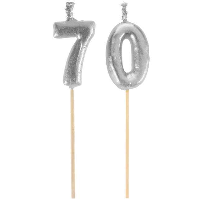 "Świeczka na tort ""70 Silver Piker"", SANTEX, 8 cm"
