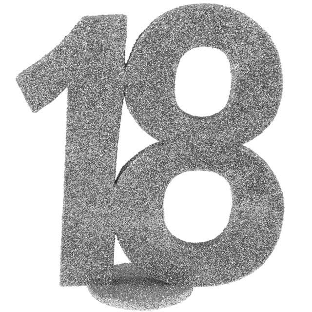 """Dekoracja """"18 Urodziny"""", SANTEX, srebrna, 11,5 cm"""