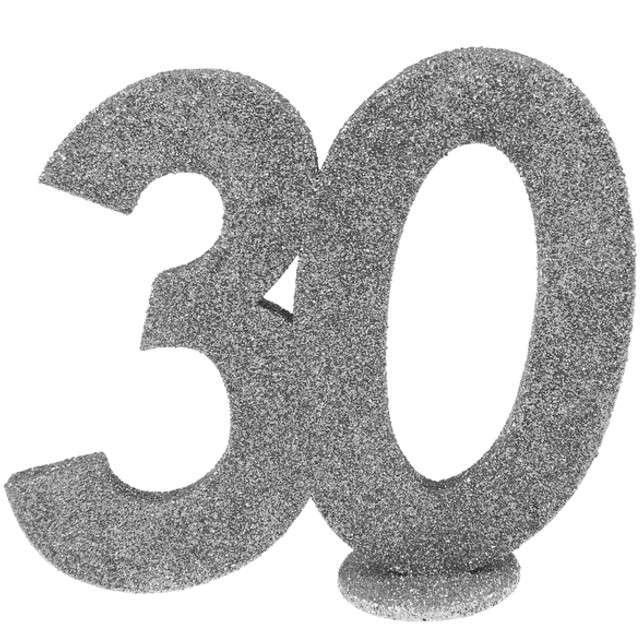 """Dekoracja """"30 Urodziny"""", SANTEX, srebrna, 11,5 cm"""