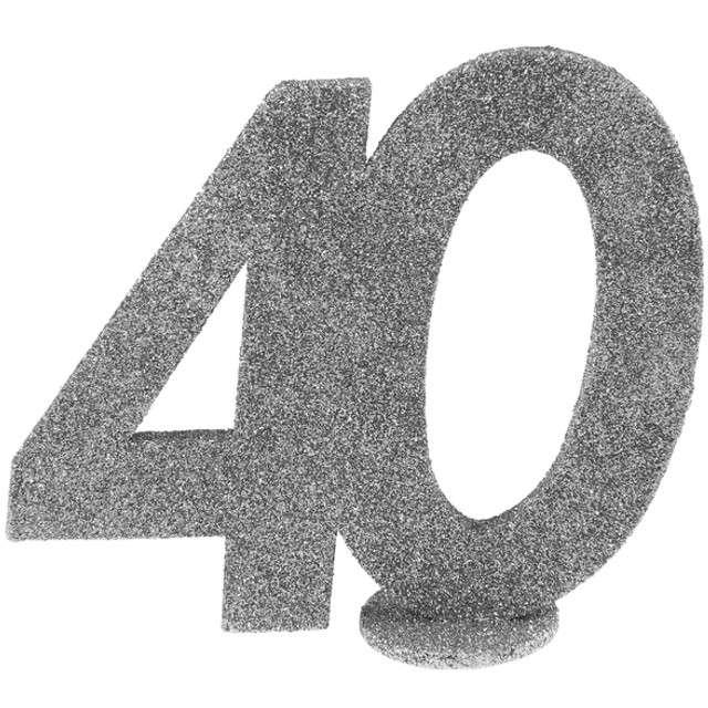 """Dekoracja """"40 Urodziny"""", SANTEX, srebrna, 11,5 cm"""