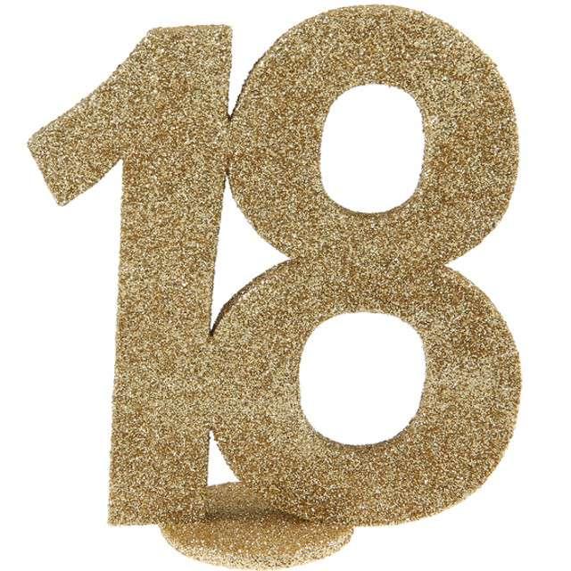 """Dekoracja """"18 Urodziny"""", SANTEX, złota, 11 cm"""