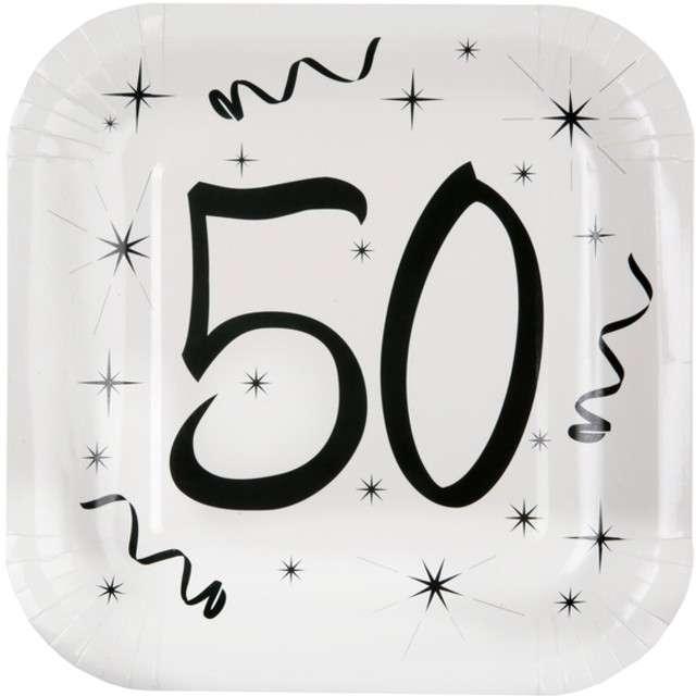 """Talerzyki papierowe """"50 White"""", SANTEX, 23 cm, 10 szt"""