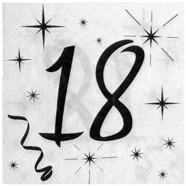 """Serwetki """"18 Urodziny"""", SANTEX, białe, 33 cm, 20 szt"""