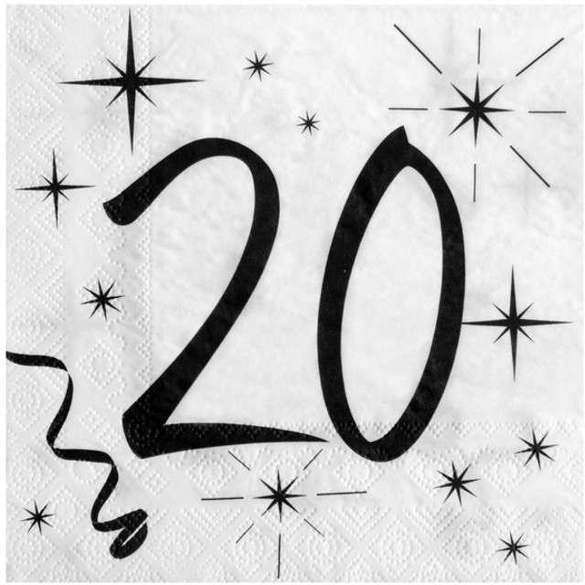 """Serwetki """"20 Urodziny"""", SANTEX, białe, 33 cm, 20 szt"""