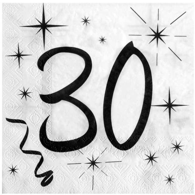 """Serwetki """"30 Urodziny"""", SANTEX, białe, 33 cm, 20 szt"""