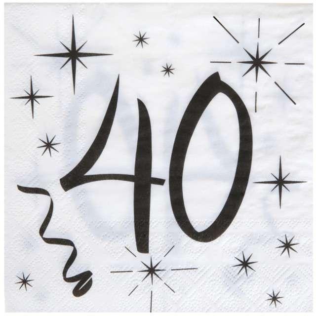 """Serwetki """"40 Urodziny"""", SANTEX, białe, 33 cm, 20 szt"""