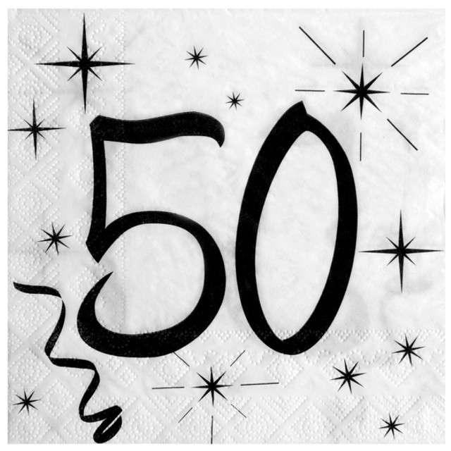 """Serwetki """"50 Urodziny"""", SANTEX, białe, 33 cm, 20 szt"""