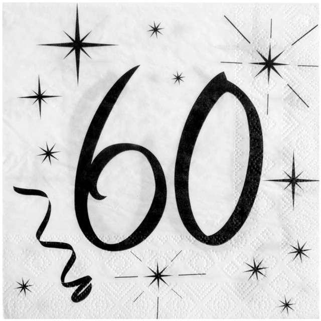 """Serwetki """"60 Urodziny"""", SANTEX, białe, 33 cm, 20 szt"""