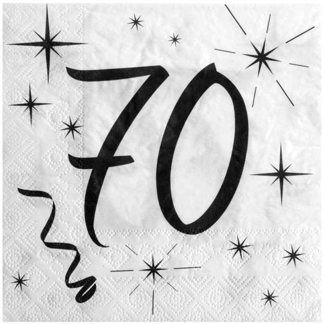 """Serwetki """"70 Urodziny"""", SANTEX, białe, 33 cm, 20 szt"""