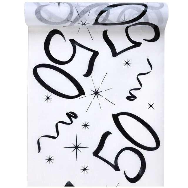 """Bieżnik """"50 urodziny, biały"""", SANTEX, 500 x 30 cm"""