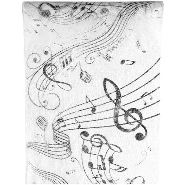 """Bieżnik """"Muzyczny, biały"""", SANTEX, 500 x 30 cm"""