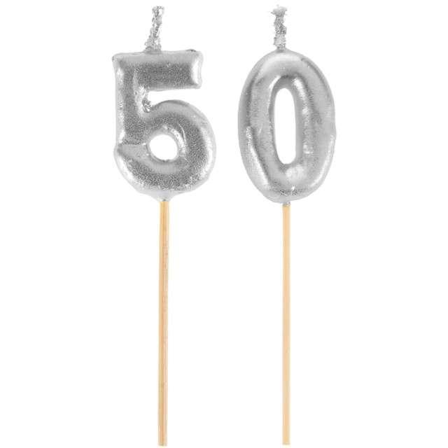"Świeczka na tort ""50 Silver Piker"", SANTEX, 8 cm"