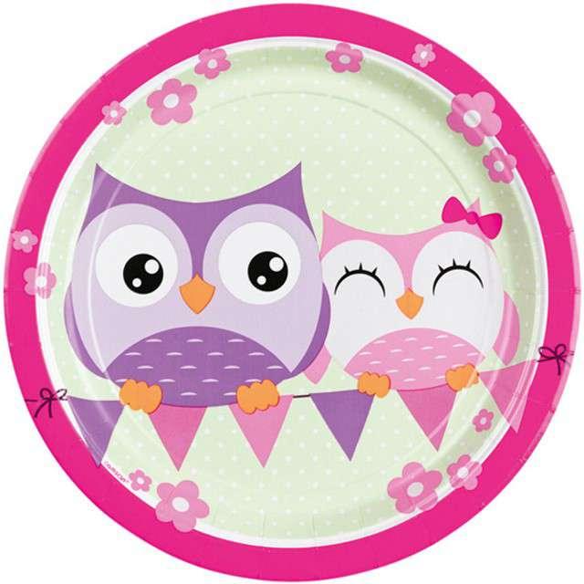 """Talerzyki papierowe """"Happy Owl"""", AMSCAN, 23 cm, 8 szt"""