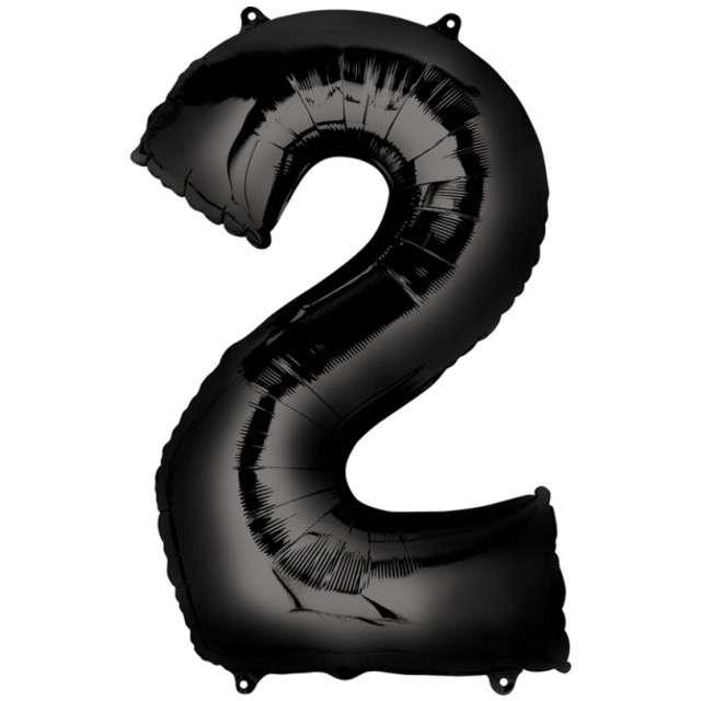 """Balon foliowy cyfra 2, 32"""", AMSCAN, czarna"""
