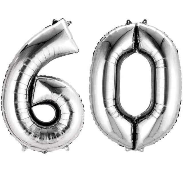 """Balon foliowy cyfra 6+0, """"60 Urodziny"""", 34"""", AMSCAN, srebrna"""