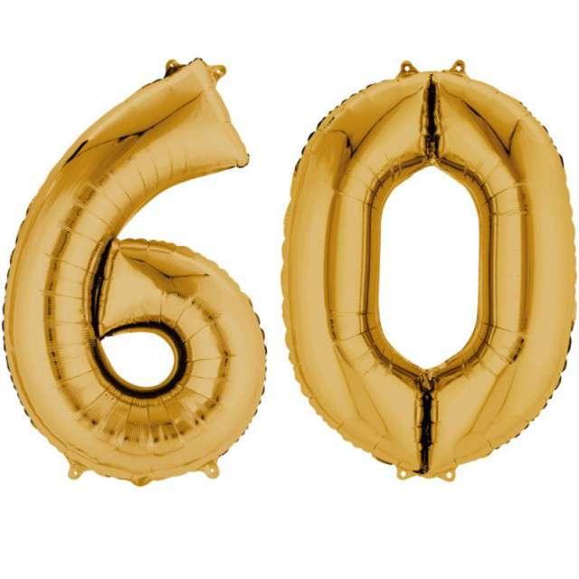 """Balon foliowy cyfra 6+0, """"60 Urodziny"""", 34"""", AMSCAN, złota"""