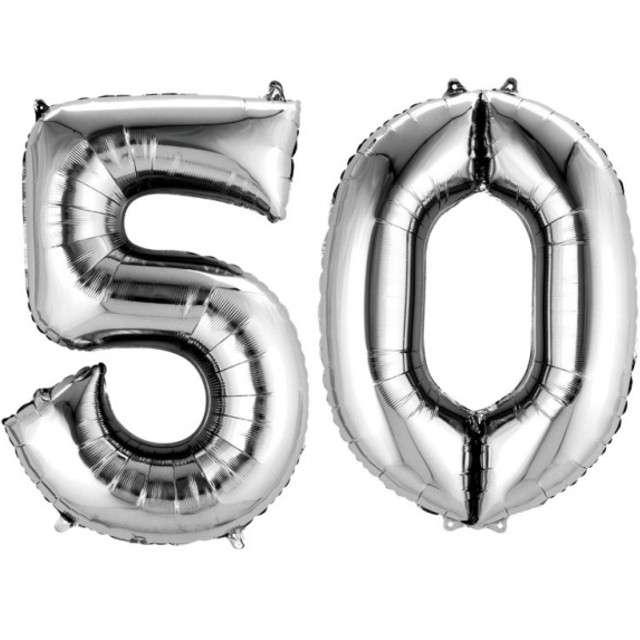 """Balon foliowy cyfra 5+0, """"50 Urodziny"""", 34"""", AMSCAN, srebrna"""