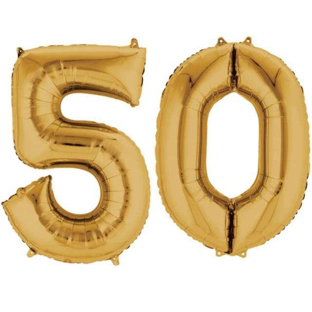 """Balon foliowy cyfra 5+0, """"50 Urodziny"""", 34"""", AMSCAN, złota"""
