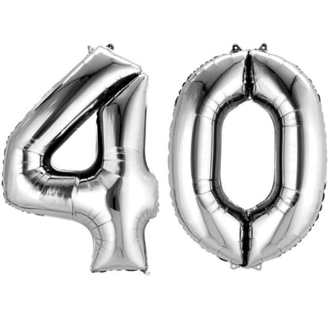 """Balon foliowy cyfra 4+0, """"40 Urodziny"""", 34"""", AMSCAN, srebrna"""